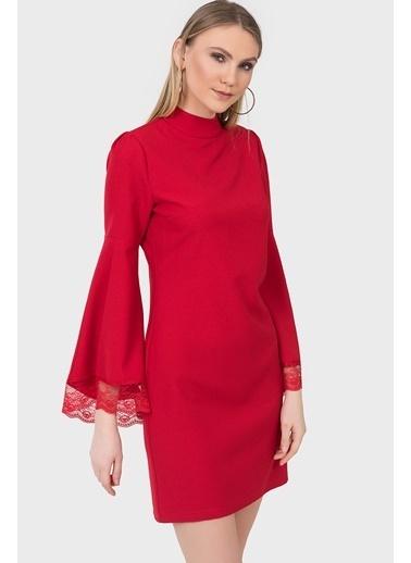 İroni İspanyol Kol Dantel Detaylı Elbise Kırmızı